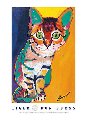 CAT ART PRINT - Tiger by Ron Burns 18x24 Kitten Pet Poster