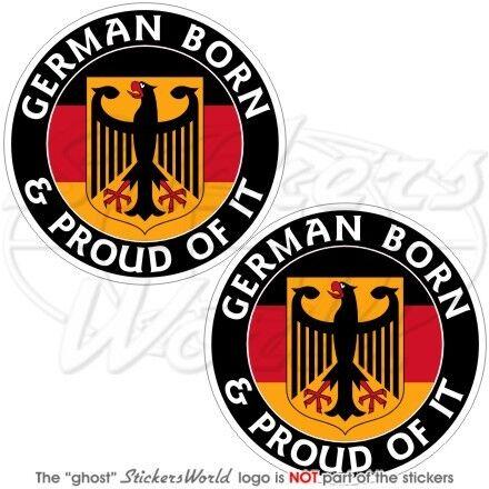 "Alemania alemán nacido /& orgulloso Deutschland 75 mm parachoques pegatinas de vinilo Calcomanías x2 3/"""