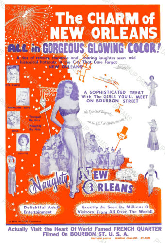 Vintage Burlesque Poster Wall Art Print The Charms of Naughty New Orleans