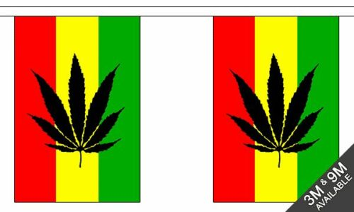 10 flag bunting Genus Flowering Plant Pot Leaf Reggae 3 metre long