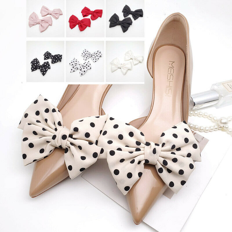 2 Pcs Red Black White Pink Large Bow Wedding Shoe Clips Shoe Charms