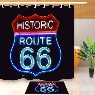 "Route 66 Historic Waterproof Fabric Bathroom Decor Shower Curtain Hooks 72x72/"""