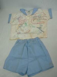 VINTAGE 1950s HAND EMBROIDERED MADEIRA LITTLE BOYS OUTFIT w MEXICAN COWBOYS SZ 2