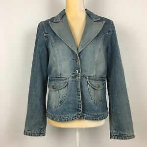 Mossimo-Womens-L-Denim-Jacket-Blue-Washed-Faded-Pockets-Stylish-Silver-Buttons
