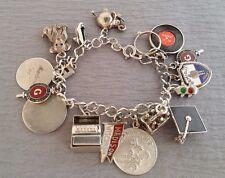 "Antique Sterling Silver 1960's Theme 18 Charm Bracelet  7.0""  ~43.9 gm"