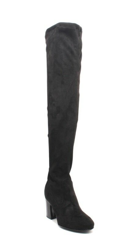 Mally 6348 Black Ultra Stretch Suede Over-the-Knee Zip-Up Heel Boots 35   US 5