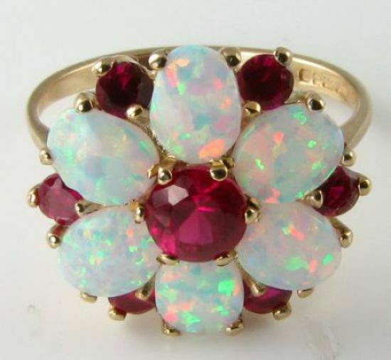 LARGE 9CT 9K gold RUBY & AUS OPAL CLUSTER DAISY ART DECO INS RING FREE SIZE