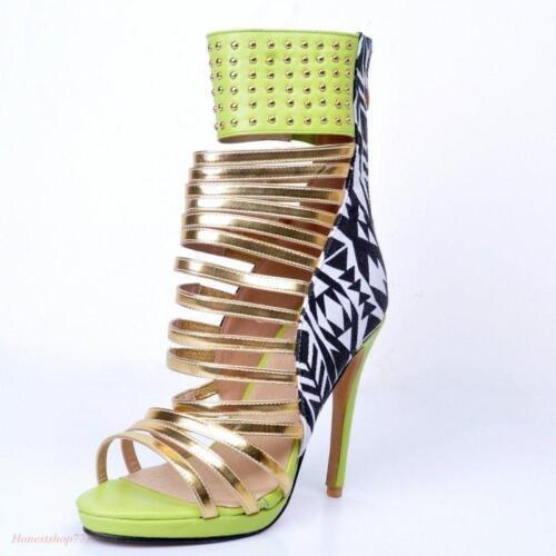 Toe Chaussures hauts Stilettos évider Rivets Open Womens Roma talons Strappy à 8wOPkXZN0n