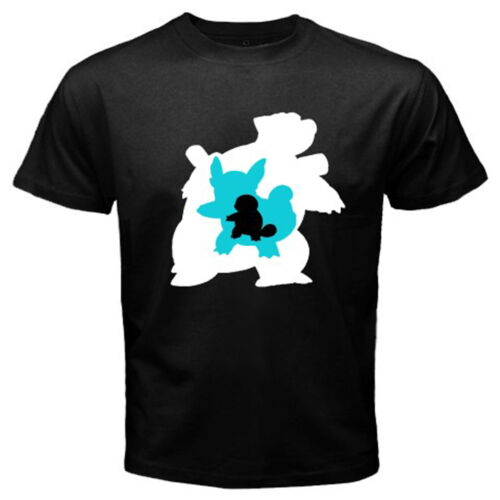 New POKEMON EVOLUTION Squirtle Wartortle Blastoise Mens Black T-Shirt Size S-3XL