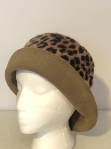 Vintage 60s 70s Hat Leopard Faux Fur Mohair Union
