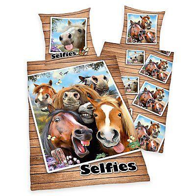 Bettwäsche Lustige Pferde Selfies Pony Rappen Geschenk 135 X 200 Neu
