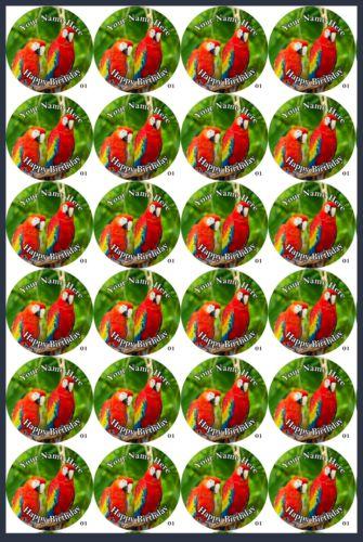 Comestible Cupcake Toppers x20 loros Topper-Hoja De Oblea 1165 Glaseado Hoja