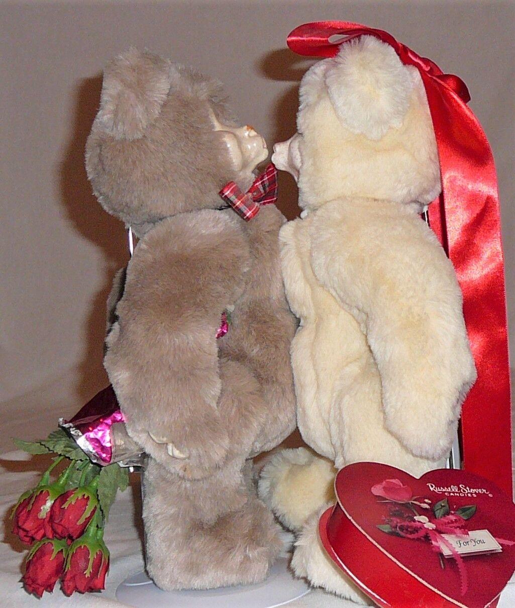Kissing Bears, quality fur and porcelain, circa 1980s
