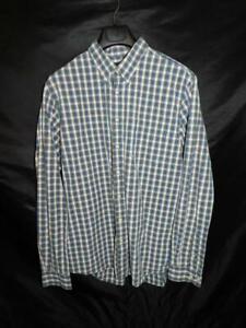 Eddie-Bauer-Tall-L-TL-Blue-Brown-Plaid-Shirt-Button-Down-Collar-Cotton-Mens