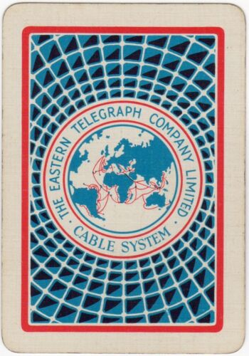 Playing Cards Single Card Old Wide EASTERN TELEGRAPH CABLE SYSTEM Advertising 2