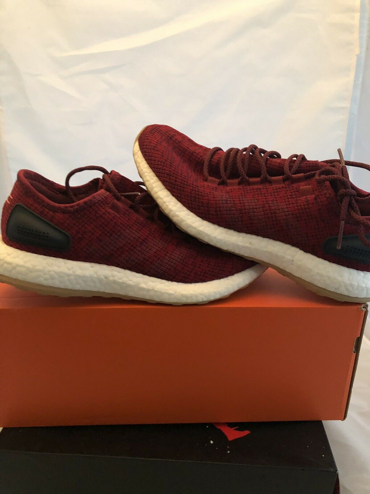 ADIDAS PUREBOOST RUNNING GYM TRAINING SHOES PRIMEKNIT BURGUNDY MENS SIZE 8.5