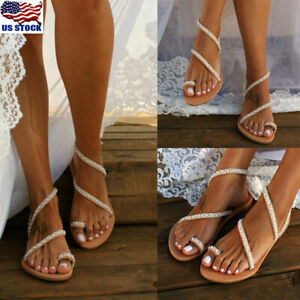 Womens-Boho-Bohemian-Flat-Sandals-Toe-Ring-Pearl-Floral-Summer-Beach-Shoes-Size