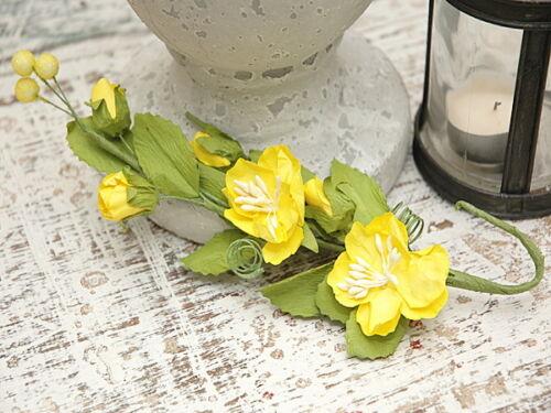 FlowerSpray YELLOW  2.5Flowers3Buds11Leaves3Berries Paper PullApart 26cmLong MH