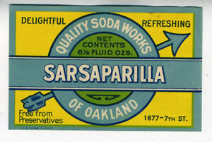 Napa Rock Dry Creme Soda Bottle Label Oakland Ca