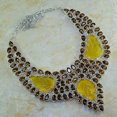 """GIANT! CARVED YELLOW AGATE+SMOKY QUARTZ NECKLACE 23 1/2""""; 171 GRAMS; YK377"""