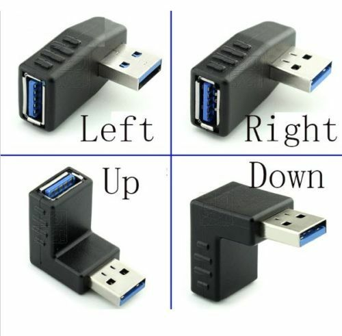 USB 3.0 Male to Female Angled Adaptors 90 270 Degree L Shaped UP DOWN LEFT RIGHT