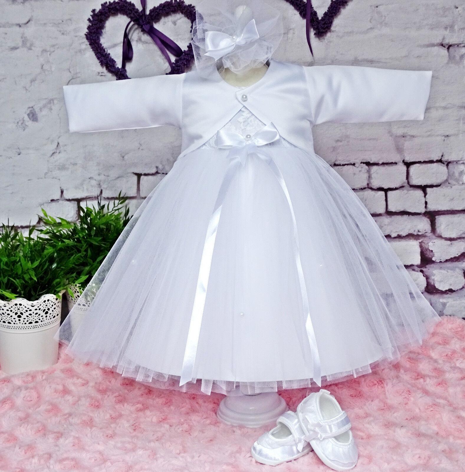 Taufkleid Set 4-teilig Kleid,Stirnband,Mantel,Mutze Gr 56-86 ❤️Neuheit ❤️