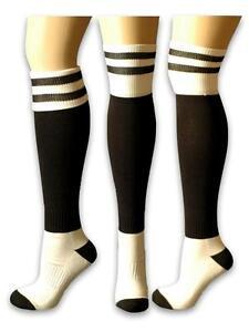 7a573ee4805 Black   White Knee Socks Crossfit OLY Soccer Baseball Running ...