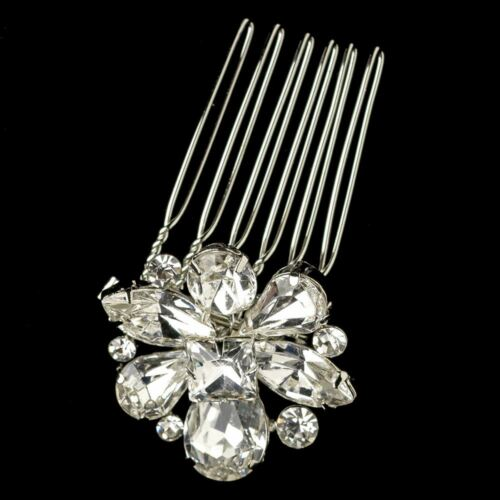 Brides Hair Comb Silver Rhinestone Petie Flower Design Wedding Jewelry