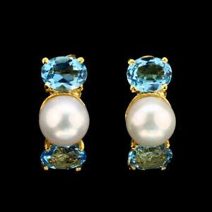 Oval-Swiss-Blue-Topaz-8x6mm-White-Pearl-Gold-Plate-925-Sterling-Silver-Earrings