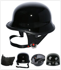 M L XL Motorcycle DOT German Half Face Helmet Chopper Cruiser Biker Gloss Black