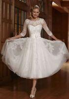 Hot White/Ivory Short Wedding Dress Bridal Gown Custom Size 6-8-10-12-14-16-18+
