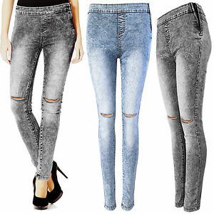 2ee26afb144b1 NEW LADIES ACID WASH RIPPED KNEE SKINNY JEANS WOMEN HIGH WAISTED RIP ...