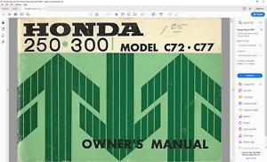 details about honda dream 250, 300, 305 c72 c77 ca72 ca77 ca78 owners manual pdf