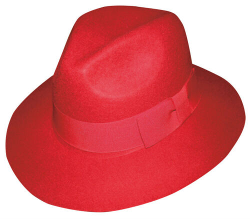 New Men/'s 100/% Wool Fedora Trilby Mobster Hat 6 Colors LH-5