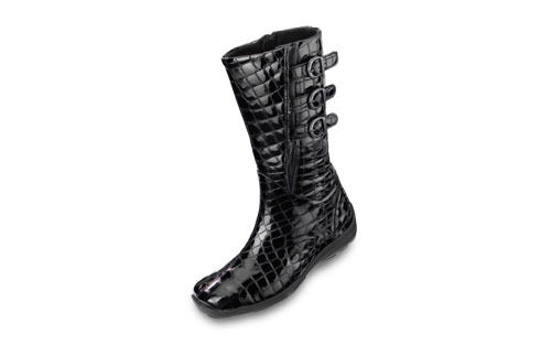 Easy B by DB 'Sydney' Ladies Black Patent Croc Effect Mid Calf Boots. EE Fitting