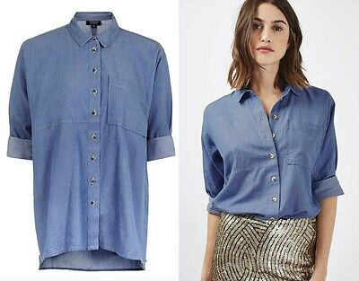 Ex Topshop Baby Blue Cotton Chambray Casual Shirt Top Size 6 8 10 12