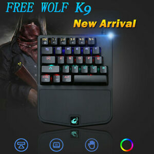 e8ad292f27c8 Details about K9 Wired 28Keys LEDBacklit Ergonomic Mini Single Hand Gaming  Mechanical Keyboard