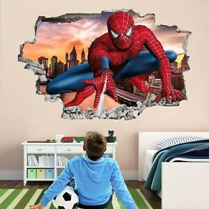 Details about Spiderman Superhero Wall Art Stickers Mural Decal Kids  Bedroom Decor EA50