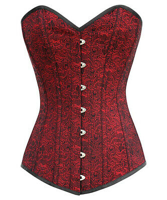 Corset Red With Patterns And Border Black Bones Steel Gothic Elegant Large Assortment