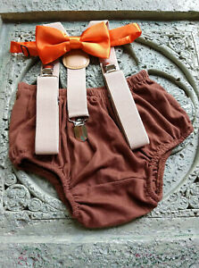1st Birthday boy cake smash outfit bow tie suspenders 6m-24 mo tan brown green