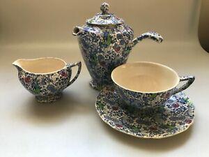JOHN-MADDOCK-amp-SONS-BLUE-LIBERTY-CHINTZ-SMALL-COFFEEPOT-CREAMER-CUP-CHOCOLATE