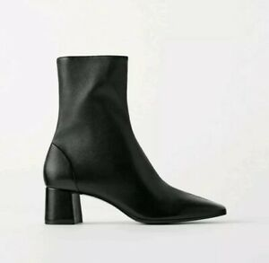 Zara Black soft leather ankle boots 38