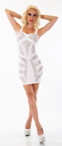 Damen Mini Kleid Party Cocktail Etui Pencil Strass Nieten schwarz weiß S//M M//L
