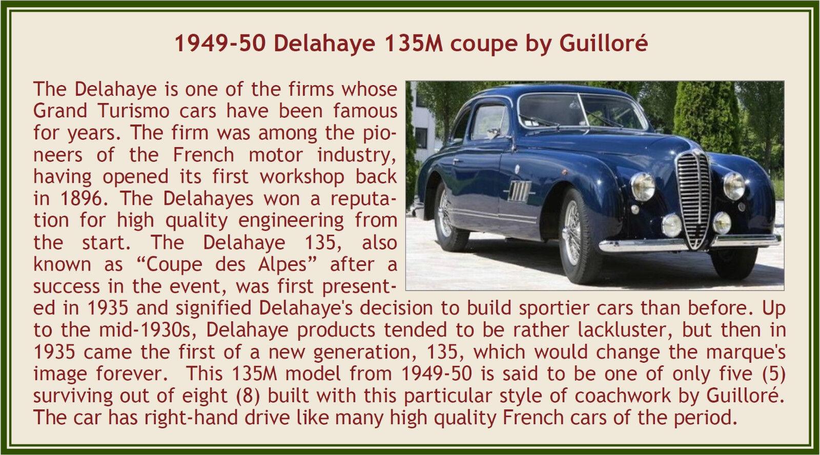 Esval 1949-1950 delahaye einer höhe von 135 m coupé von guillore blau 1 43 neue