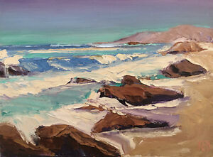 ROCK-GUARDS-THREE-Original-Impression-Seascape-Ocean-Painting-12x16-072517-KEN