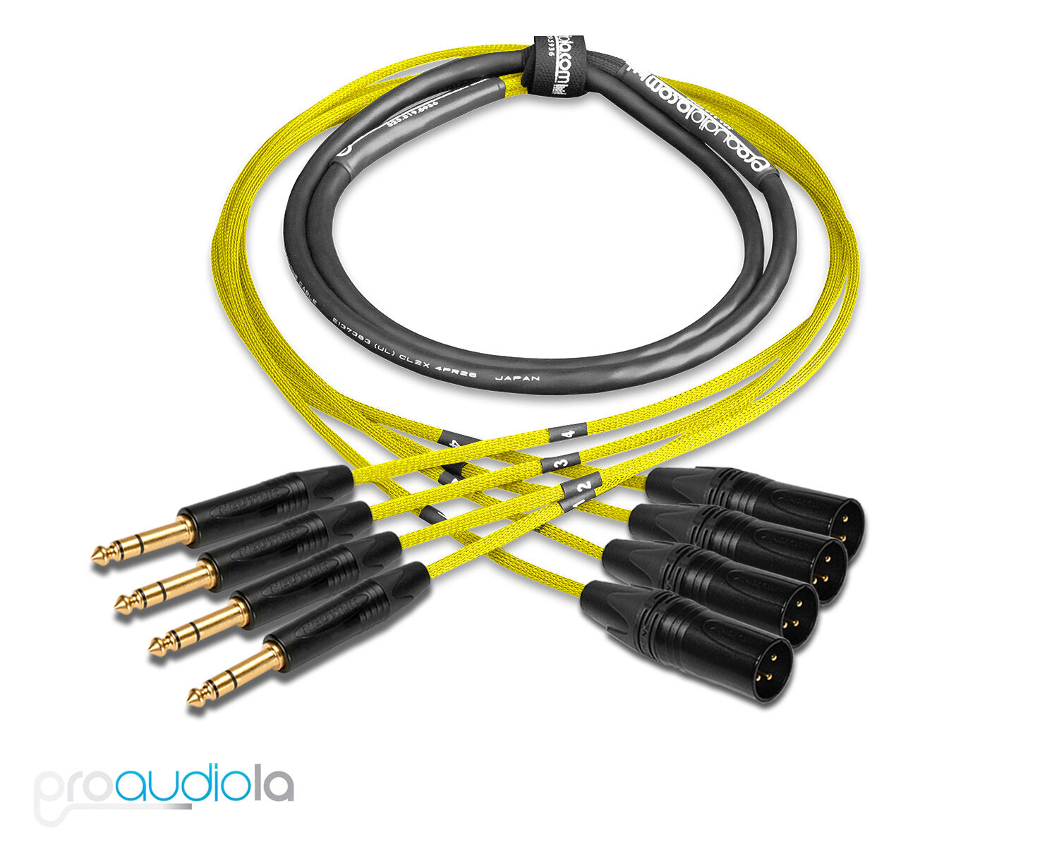 Premium 4 Channel Mogami 2931 Snake   Neutrik Gold TRS XLR-M   Gelb 15 ft.