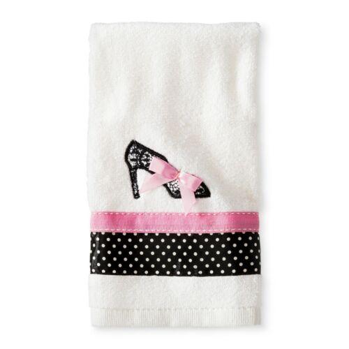 Glamour Girl High Heel Fingertip Towel 11x18 White//Pink//Black Dot Cotton NWT