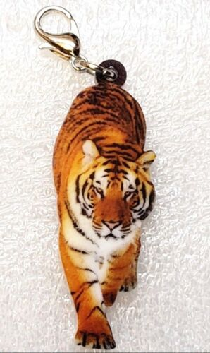 Tiger Walking Realistic Acrylic Double-Sided Purse Charm Zipper Pull Jewelry