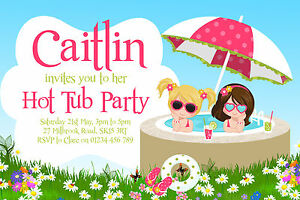 10 Personalised Hot Tub Party Invitations Pool Garden