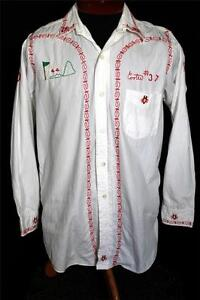 VERY-RARE-COLLECTIBLE-VINTAGE-1950-039-S-WHITE-COTTON-EMBROIDERED-SHIRT-SIZE-MED
